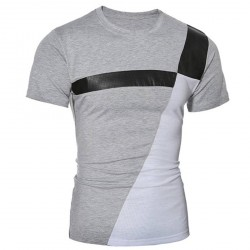 Low price selling men's fashion new men's short-sleeved t-shirt Slim splicing