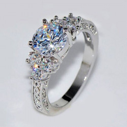 White Sapphire Wedding Ring 10KT White Gold Jewelry