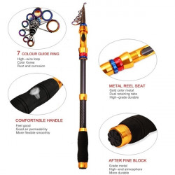 Carbon Telescopic Fishing Rod Pole With 13BB Metal Spinning Reel Fishing Rods and Reels Set