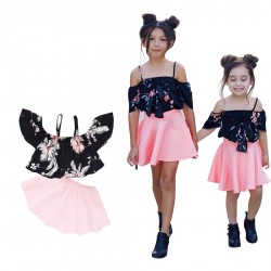 Baby Girls Halter Floral Tops Pink Skirt Clothing Set Outfits