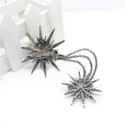 Women's Flower Silver Full Crystal Chain Brooch Pin Wedding Lady Brooches