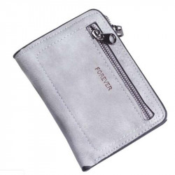 Women's double folding leather wallet small zipper purse short wallet
