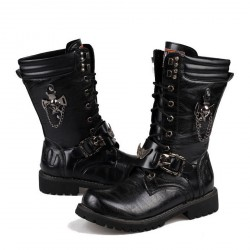 Men Leather Lace Up Soft Buckle Design Adult Stylish Boots