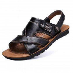 Men's Beach Casual Breathable Cow Leather Sandals Slippers