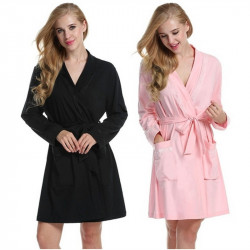 Women's Long Sleeve with Belt Soft Nightgown Knee Length Nightgown