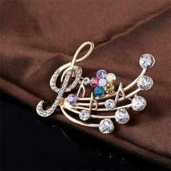 Women's Fashion Simple Delicate Crystal Musical Note Blossom Brooches wedding jewelry Brooches
