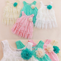 Baby Girl & #39;S Lace Dress Children Clothing Autumn-Summer Kids Princess Fower Tutu Dress