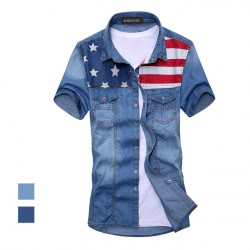 2017 New Vintage Men & #39;S Fashion American Flag Denim Shirt Short Sleeve Light Blue Jeans Shirt Free Shipping Top Quality