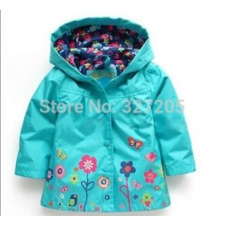 2017 New Baby Girls Outwear Jacket For Autumn Spring Kids Brand Flower Coat Hoody Children Custom Clothes T151
