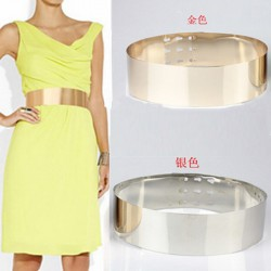 High Quality Metal Keeper Metallic Mirror 7 cm Wide Belt Corset Women PUnk Cummerbund Gold Silver Mu870718