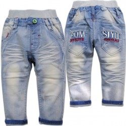 3699 Baby Jeans Trousers Casual Jeans Spring And Autumn Baby Boys Girls Straight Solid Blue Not Fade Baby