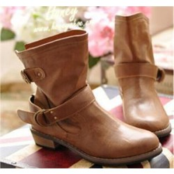 Ankle Boots Flat Vintage Martin Buckle Women Winter Boots PU Leather Motorcycle Boots Black Brown