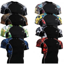 C2S All In One Mma Martial Arts Shirts W/Double Graphic Short Sleeves Compression Base Layer Bodybuilding Running Shirts