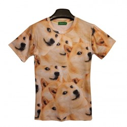 2017 Popular Sell Emoji Doge T Shirt Summer Funny Emoticon Clothes Unisex Women Men Smile Face 3D Doge Top Tees T-Shirt Cloth,Ja089