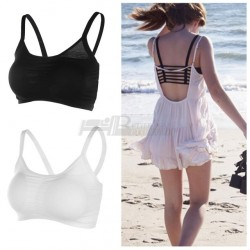 1Pc Popular 2017 Fashion New Sexy Women Cotton Hollow Back Midriff Shirt Tank Top Padded Bra Wrap Vest Chest Sport Bra Crop Tops