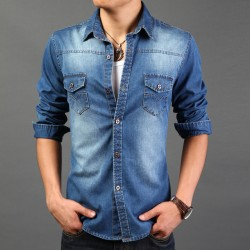 Free Shipping 2017 Spring Wear Men Jeans Shirt Denim Jeans Wash Blue Long-Sleeve Shirt High Quality