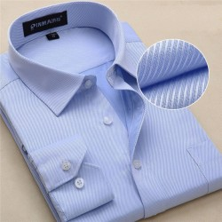 2017 New Casual Long Sleeve Twill Men Dress Shirts Slim Fit Fromal Mens Work Shirts Striped Male Shirts Plus Size