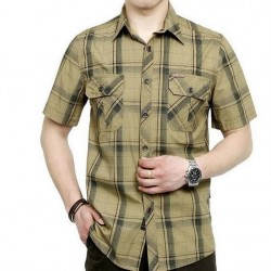 European Casual Style 2017 Big Size M- 5Xl Obesity Men & #39;S Summer 100% Pure Cotton Plaid Loose Short Sleeve Shirts Man Khaki Tops