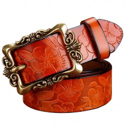 2017 New Fashion Wide Genuine Leather Belt Woman Vintage Floral Carved Cow Skin Belts Women Top Quality Strap Female For Jeans