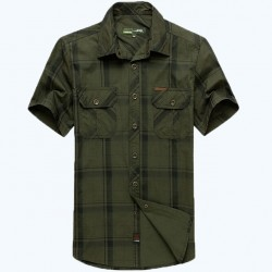 Afs Jeep Brand Summer Dress Men & #39;S Short Sleeve Shirt Plaid Style Green And Khaki Colors Plus Size M-5Xl 60
