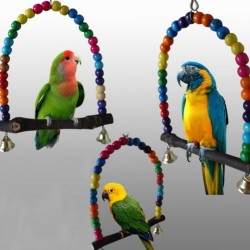 Colorful Bird Parrot Swing Cage Toy Parakeet Budgie Lovebird Woodens Birds Parrots Swings Toys Cage