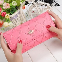 2017 New Fashion Fashionable Design Wallet With Coin Pocket Women Purse Women's Lattice Long PU Wallets