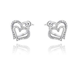 Discount fashion jewelry earrings discount European market and the US market two platinum crystal heart-shaped diamond earrings