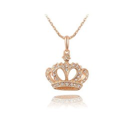 European and US markets pendant discount fashion luxury diamond necklace noble personality style crown rose gold pendant