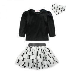 Fast delivery girl girls cotton long-sleeved three sets of three-piece skirt girls bow