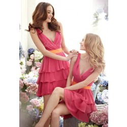 European market and the US market a new style low price short evening dress style shoulder on both sides of the V-collar bridal dress bridesmaid dress Promotion