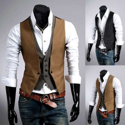Low price selling hot selling fashion plaid vest fake two men cultivating men's vest