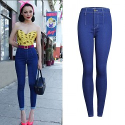 Europe station monochromatic waist Slim sexy lady waist jeans feet pencil pants Slim repair