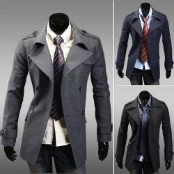 Low price Member price discount autumn new style long style double-breasted Slim woolen coat