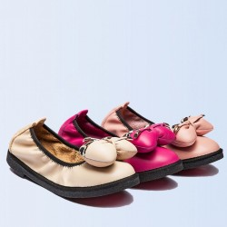 New autumn and winter leather ladies casual shoes to help low round bow ladies casual flat shoes Ms.