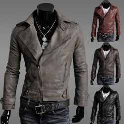Low price member price discounts installed car Men Slim leather men's leather jacket men