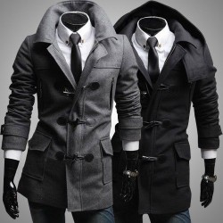 Low price member price discounts horn button hooded men Men's fitted jacket woolen coat