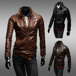 Low price member price discounts fitted leather jacket Slim Men Men's leather jacket