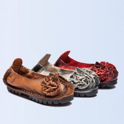 Promotions autumn and winter the new style personalized retro handmade leather shoes with flowers shallow mouth to help low Ms. brand shoes