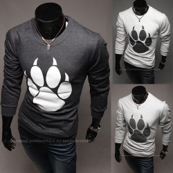 Low price discount hot Men's Long Sleeve unique paw print t-shirt