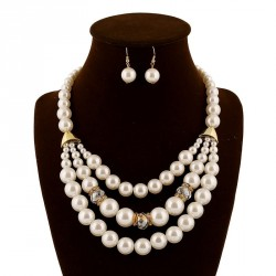 Europe and the United States market popular fashion suit exaggerated multilayer pearl necklace Gemstone Earrings Women's Clothing Accessories