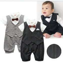 Boy striped vest two-piece jumpsuit promotional type fast shipping promotion low price children's clothing bow tie