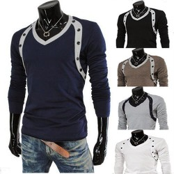 Low price discounts curved design double-breasted long-sleeved t-shirt fashion