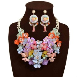 Europe and the United States exaggerated fashion market colored gemstone flower shape Necklace Earrings Jewelry Sets Gift Ladies Accessories