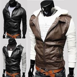 Knit short sleeve style leather Slim leather men get off on hooded short style facilitates