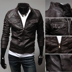 Autumn new style men's leather collar Slim models Men's leather jacket