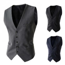 The new men's casual style striped single-breasted vest Slim models