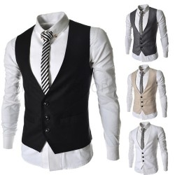 The new models solid color Slim Men's three button vest
