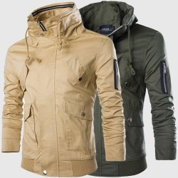 Low price selling real shot Casual multi-pocket jacket collar jacket men cultivating solid color low prices