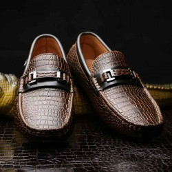 Fast delivery fashion casual shoes men's shoes Leather skin crocodile pattern leather shoes discount