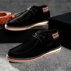 Fast shipping autumn and winter men's shoes new style British style popular fashion casual shoes leather high-top shoes plush shoes
